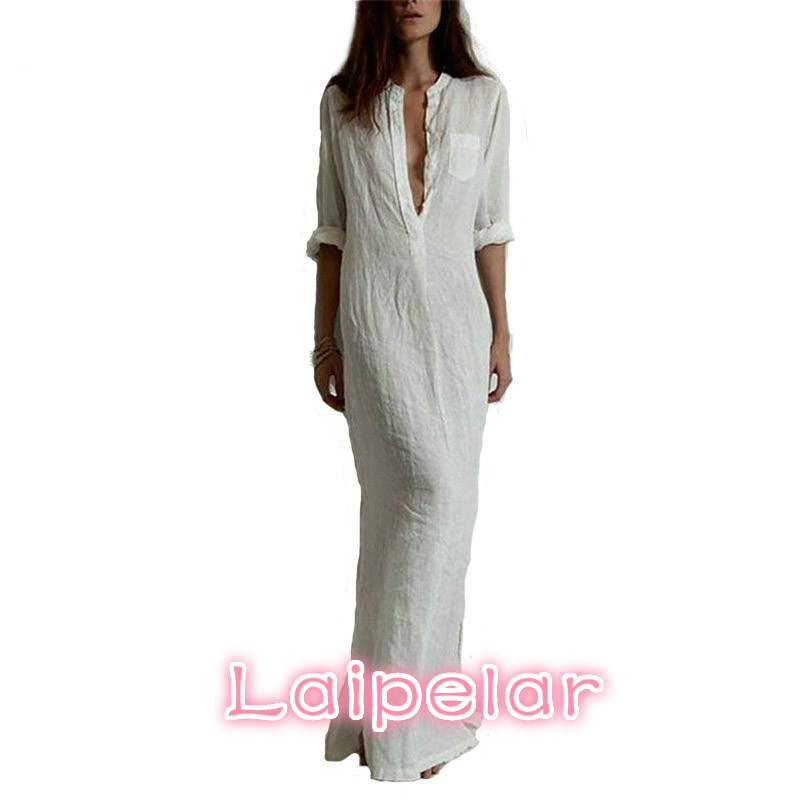 Laipelar Fashion Vestidos 2018 Autumn Women Sexy Casual Dress Long Sleeve Deep V Neck Split Solid Long Maxi Dress