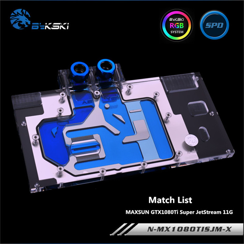 Bykski Full Coverage GPU Water Block For MAXSUN GTX1080Ti Super JetStream Graphics Card N-MX1080TISJM-X bykski full coverage gpu water block for maxsun gtx1080 super jetstream graphics card n mx1080sjm x