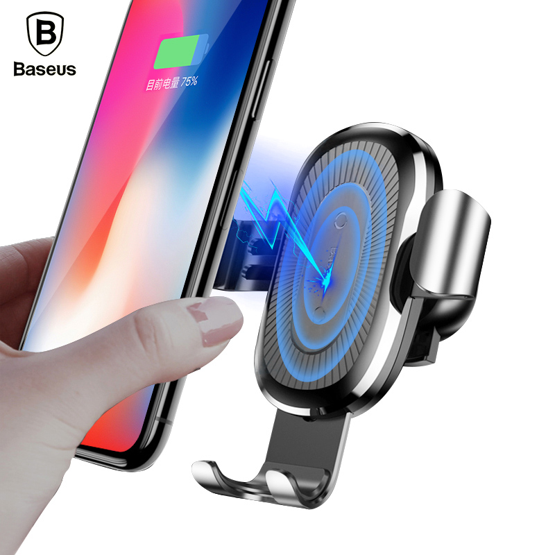Baseus Car Holder For iPhone X 8 Qi Wireless Charger Quick Charge For Samsung S9 S8 Phone Holder Stand Fast Wireless Charging