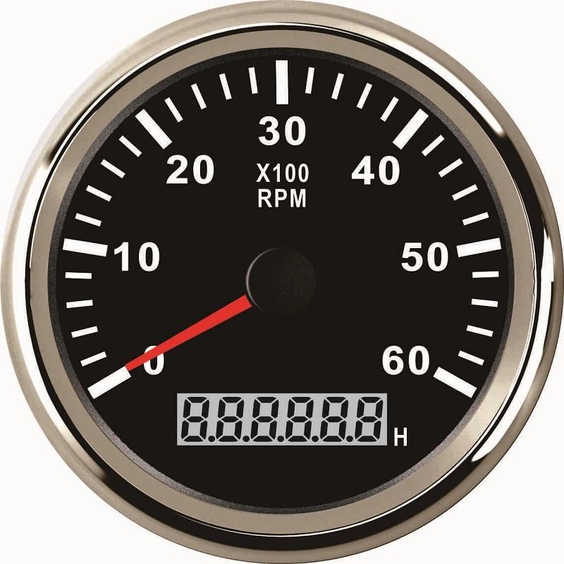 85mm Universal Auto Marine Tachometer Gauge LED Hourmeter Boat RPM 12V 24V 6000RPM
