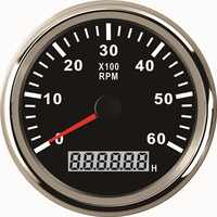85mm Universal Auto Marine Tachometer Gauge LED Hourmeter Boat RPM 12V/24V 6000RPM