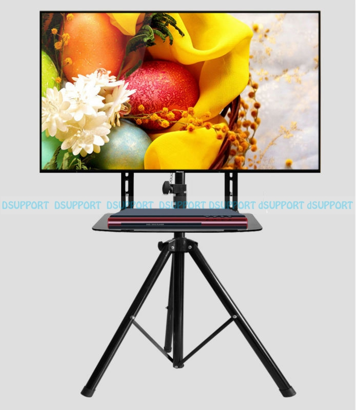 360 degree Swivel 32~55 inch TV Mount Tripod Stand with DVD Holder VESA 100~500mm Loading 50kgs Height Adjustable TV Floor Stand