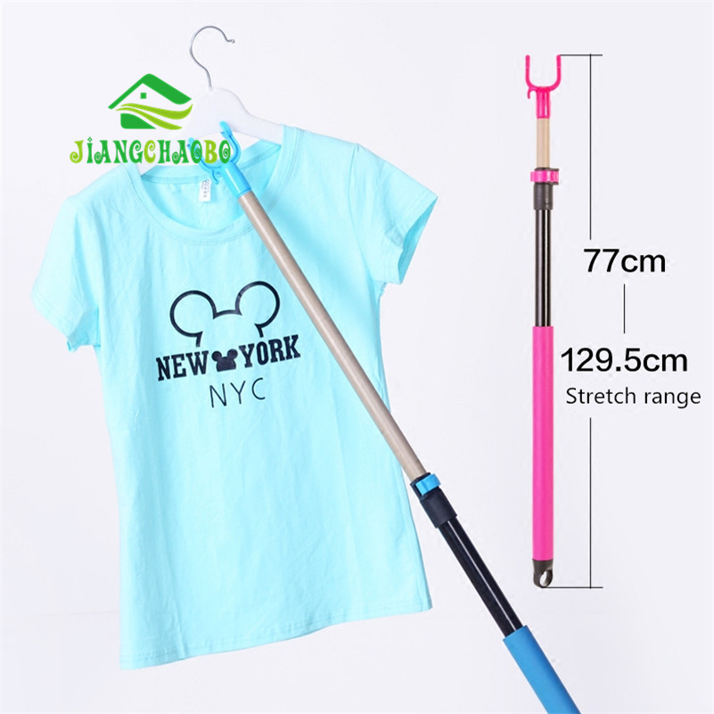 1.29 m / 0.77 m लंबाई वापस लेने योग्य छड़ एडजस्टेबल कपड़े कांटा के साथ पिछलग्गू लोहे के पाइप कपड़े लाइन पोल उठाओ कपड़े पिछलग्गू