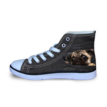 Denim Cats Dogs Print Funny Canvas Shoes for Men 3D Bulldog Design Flats School Boys Sneakers Ultralight Loafers Size 29-34