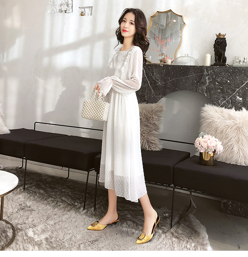 BGTEEVER Ruffles Polka Dot Women Chiffon Dress Elastic Waist Flare Sleeve Female Long Vestidos A-line White Dress 19 18