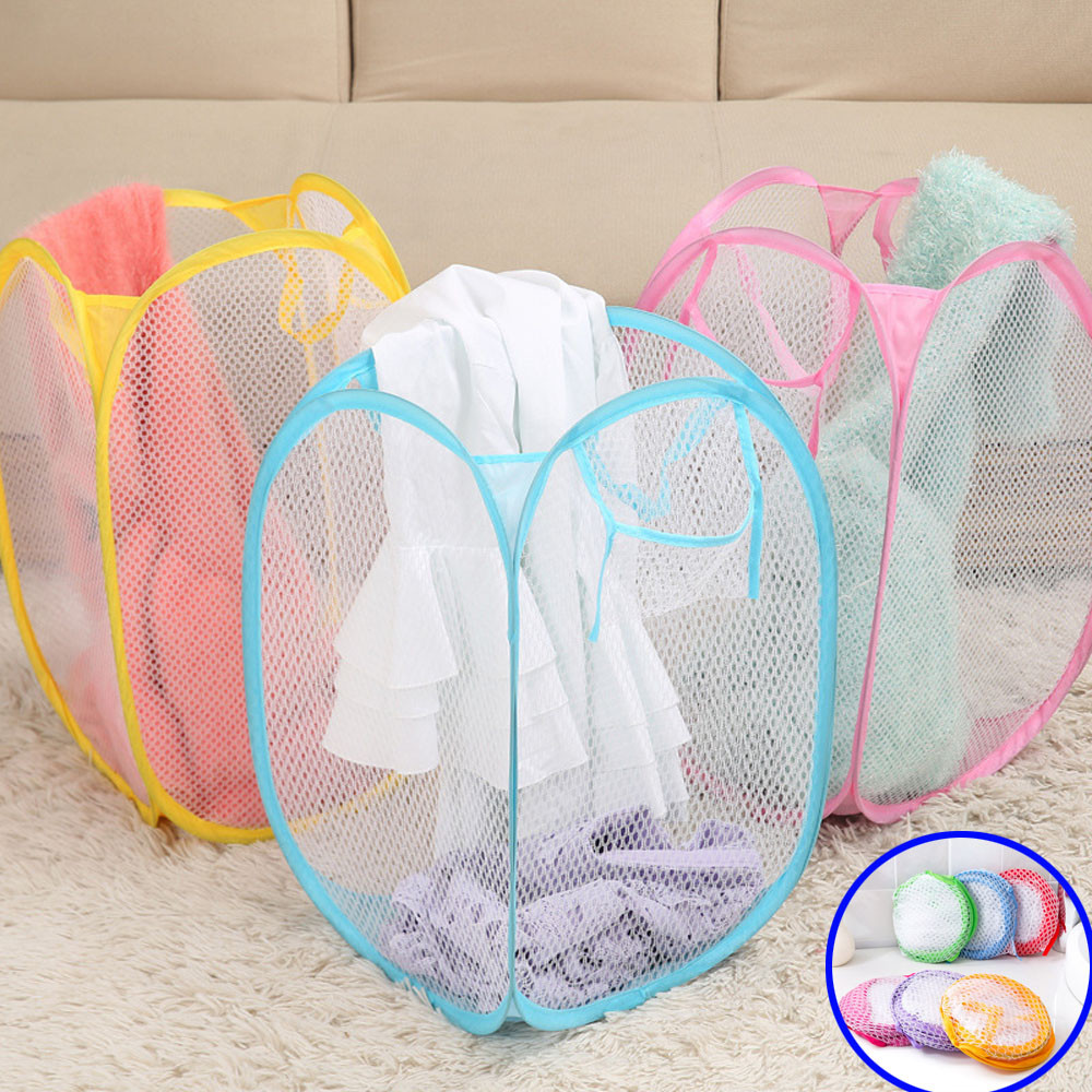 FS5 Laundry Basket Pop-Up Mesh Bin Tidy Storage Toys Fold-able Cloth Washing Bag sep26