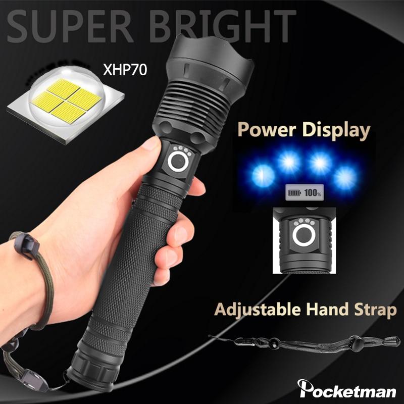 55000lm Led Taschenlampe Leistungsstarke Helle Xhp70 Taschenlampe Usb Aufladbare Taschenlampe Zoomable Taktische Taschenlampe Mit 18650 Batterie Mit Traditionellen Methoden Home