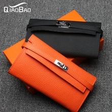 QIAO BAO 2017 Genuine Leather Women Wallet Long Purse Vintage Solid Cowhide multiple Cards Holder Clutch Fashion Standard Wallet