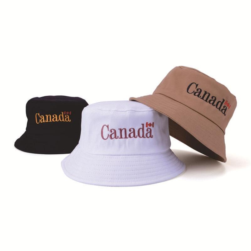 9b6154c2 2018 Fashion Letter Canada Cotton Bucket Hats Men Women Panama Fisherman  Hats Summer Street Hip Hop Cap Sun Hats Beach Bucket-in Bucket Hats from  Apparel ...