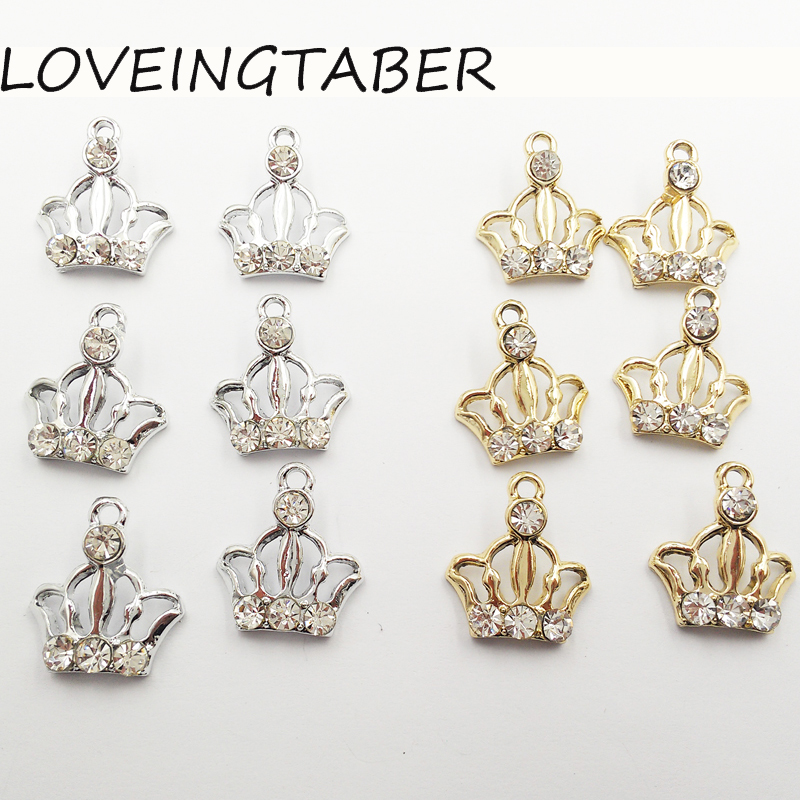 ( Choose Color First ) 16mm 16mm 30pcs lot Hollow Crown Rhinestone Small  Charm ac88b35d3a7d