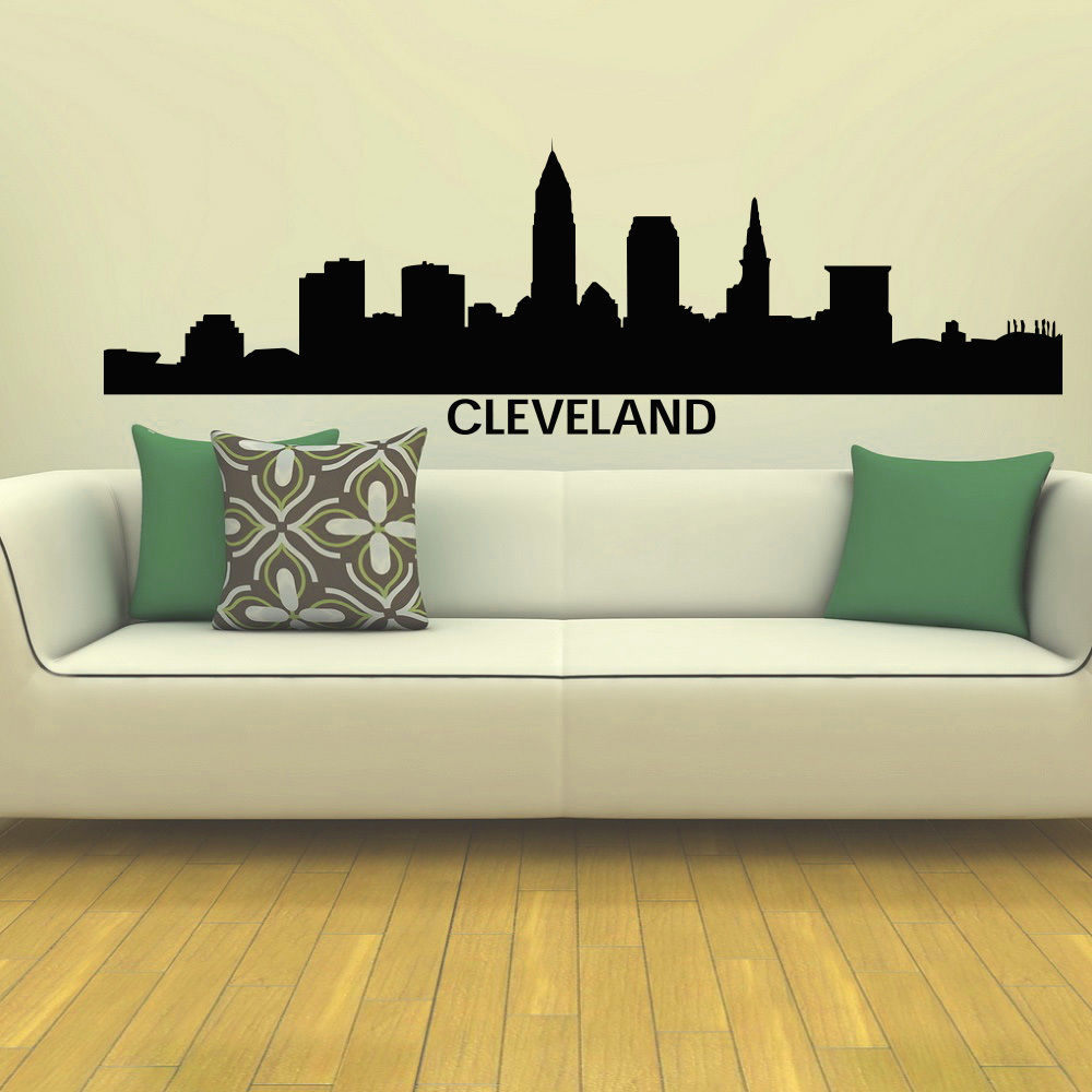 Online Shop Wall Decor Vinyl Wall Decals Cleveland Skyline City - Wall decals dubai