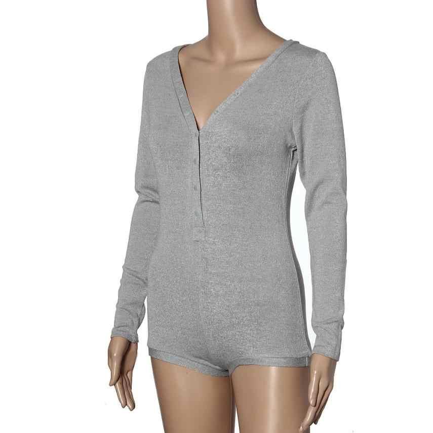 2018 gorąca sprzedaż kobiet mieszanka bawełny głębokie V Neck body Stretch z długim rękawem kombinezon szorty spodnie Playsuit projekt przycisku