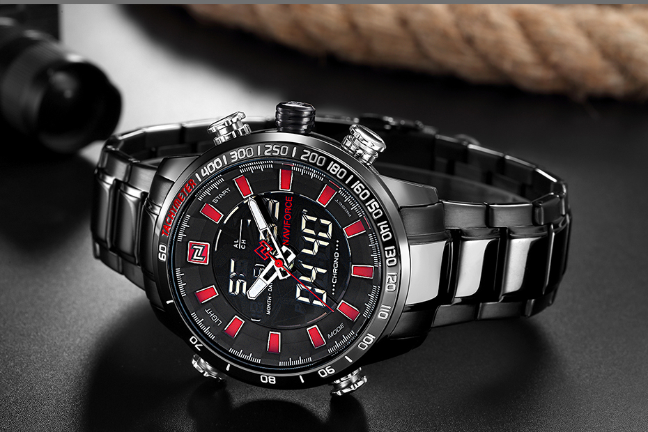 Naviforce NF9093 Military Quartz Watch Black Red