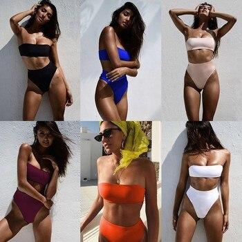 Minimalism Le Sexy Tube Top Bikinis Set Women Solid Swimwear High Waist Bathing Suit New Swimsuit Beach Wear Female Biquini