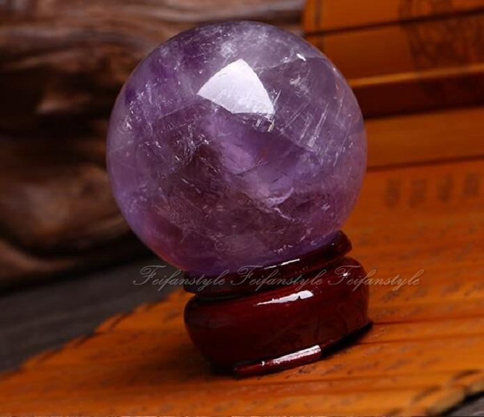 1 PC 30mm Natural Amethyst Quartz Crystal Ball Healing Stone + Stand F175cl  crystal love natural stones and minerals