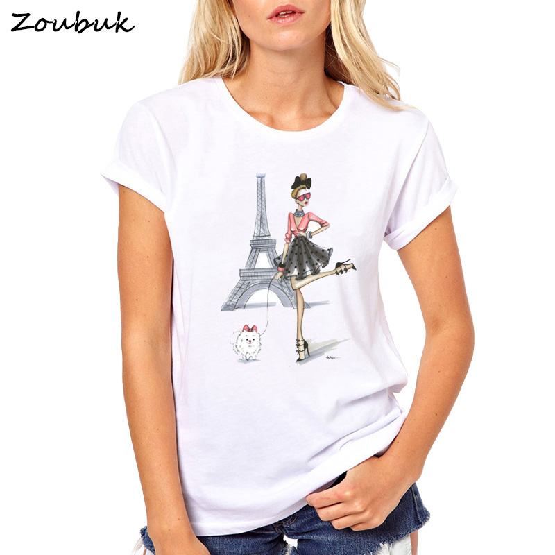 Vintage Vogue Paris Printing Girl T Shirt Women Summer Tops female graphic tumblr T-Shirt Novelty Hipster punk Cool Lady Tees
