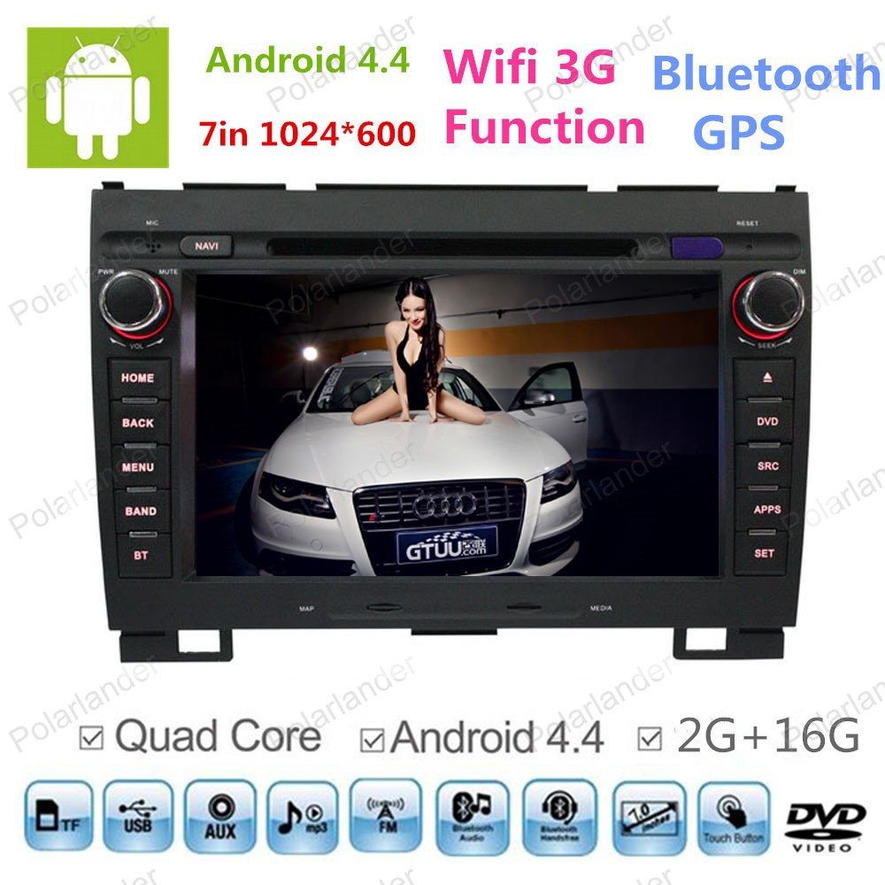 Android 4.4 voiture dvd 1024*600 pour grande muraille Hover H3 H5 quad core gps navi avec radio BT 16G ROM support DAB + miroir lien ipod