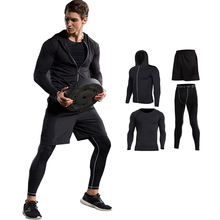 2017 Survetement Homme 4pcs Men Sport Suits Quick Dry Basketball Soccer Training Tracksuits Fitness Gym Clothing Running Sets
