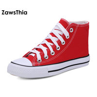 ZawsThia Vulcanize Casual Flats Summer Shoes Women Lace Up Unisex Walking Shoes Canvas Shoes High Top