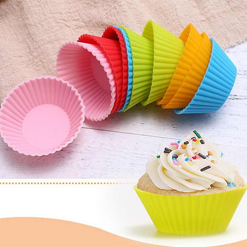 12 Pcs Baking Cup Liner Baking Molds Round Shape Silicone Cupcake Mould Bakeware Maker Mold Tray DIY Cake Decorating Tools