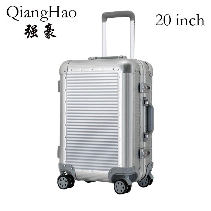 100% All Aluminium alloy  Luggage Hardside Rolling Trolley Luggage travel Suitcase 20 Carry on Luggage 22 24 Checked Luggage