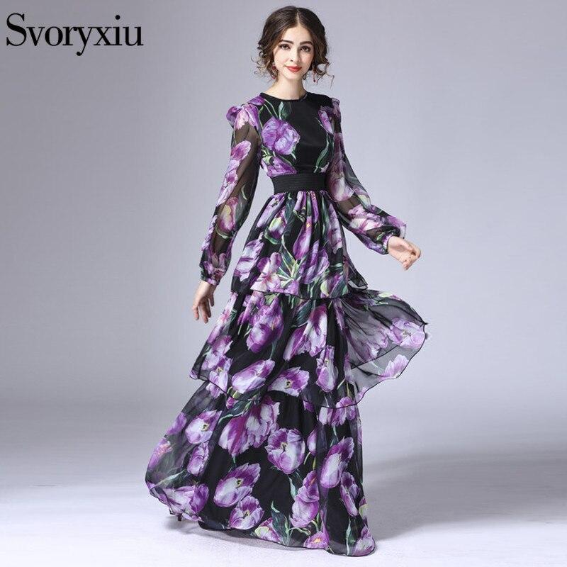 Svoryxiu New 2019 Runway Maxi Women s Dress Flower Floral Print Cascading Ruffle Elegant Vintage Long