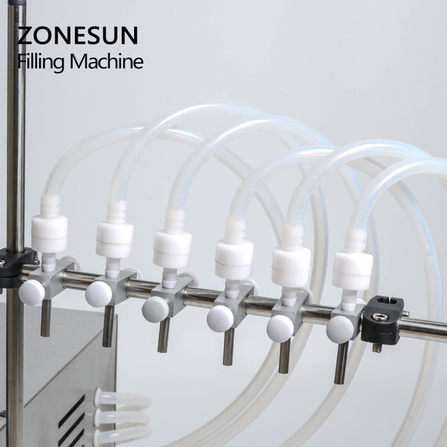 ZONESUN Electric Digital Control Pump Liquid Filling Machine 3-4000ml For bottle Perfume vial filler Water Juice Oil With 6 Head 1