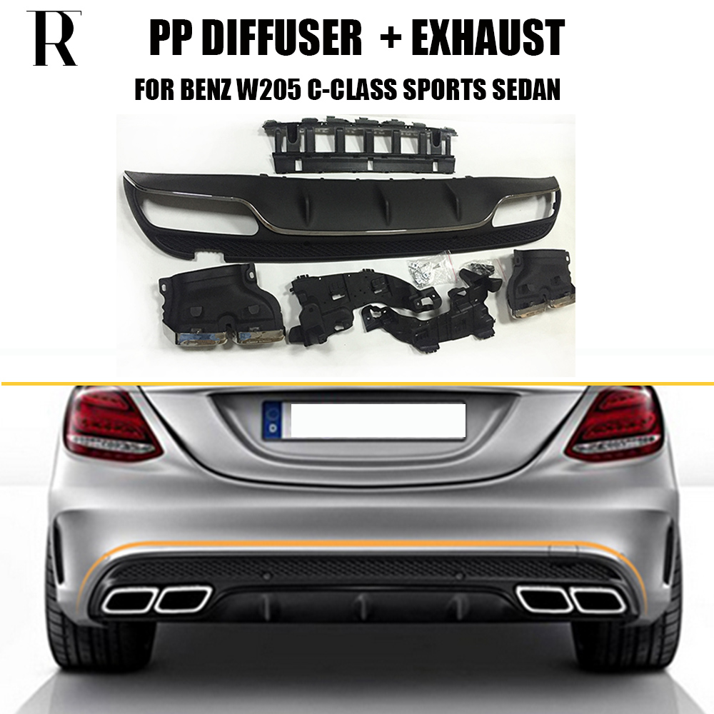 C63 Style 4 Outlet PP Rear Diffuser with Exhaust Tips for Benz W205 C200 C260 4 Door Change to C63 AMG look ( can't fit Coupe ) цена