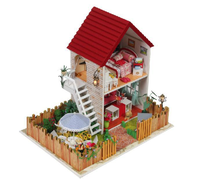 wooden miniature house model diy kit nice home dream house with light independence house villa in model building kits from toys hobbies on aliexpresscom - Dream House Model