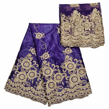 Guaranteed quality! Latest African Lace Fabric embroidery Bazin Brode lace 5yards + 2yards tulle lace fabric  BL1018