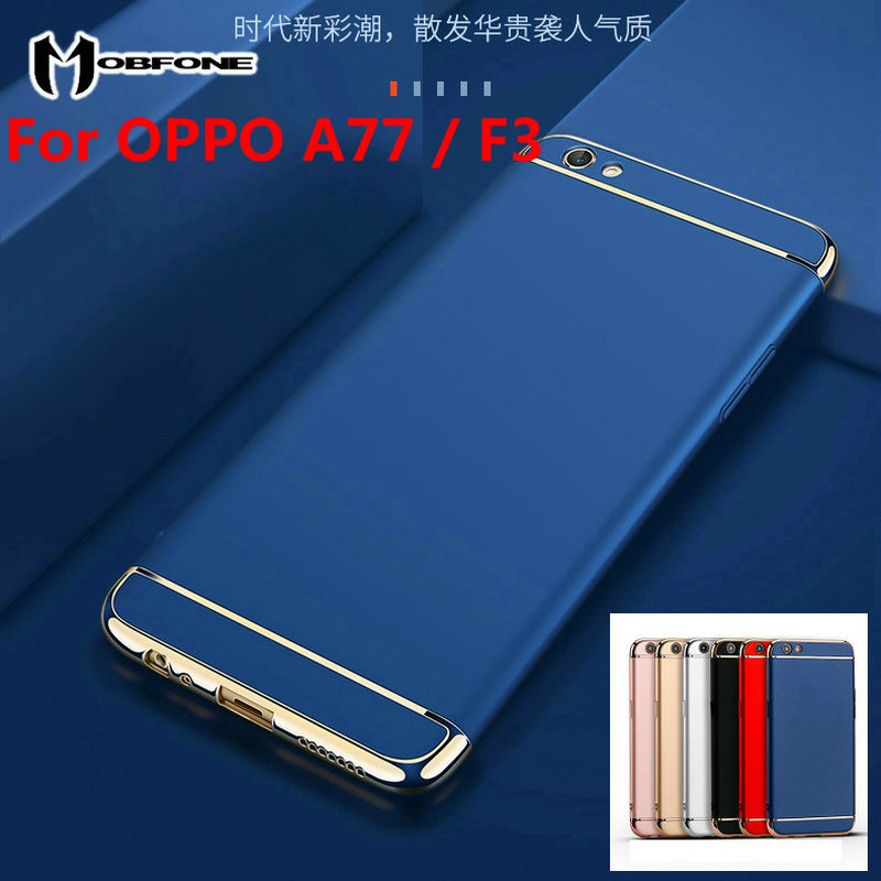 Mobfone case for For OPPO F3 / A77 Plating 3 in 1 Plastic Ultra Thin Slim Matte Back Cover For OPPO F3 Phone Capas Fundas Coque