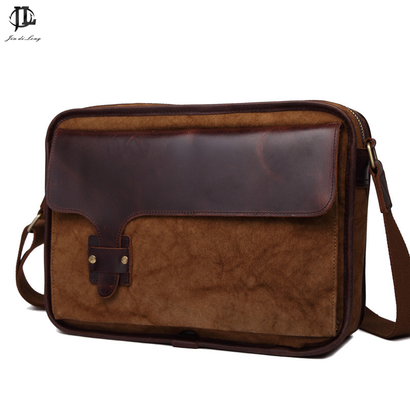 Designer Brand Man's casual Vintage Canvas Leather bags Men's Crossbody Bag Men Shoulder Messenger Bag Briefcase canvas leather crossbody bag men briefcase military army vintage messenger bags shoulder bag casual travel bags