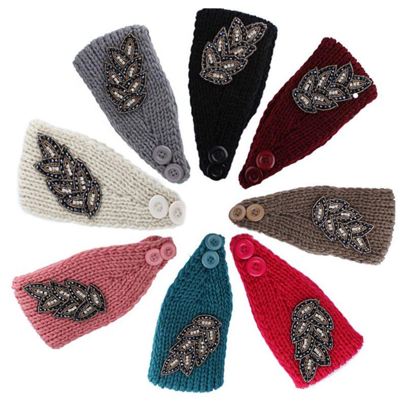 Femmes large tricoté bandeau paillettes paillettes perlées clapet Vintage feuille conception Crochet bande de cheveux Turban deux boutons couleur unie E