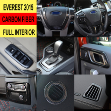 car accessories Interior trim cover ABS plastic carbon fiber chrome interiors for ford everest endeavour ranger 2015-2019