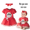 2016 New Baby Girls X'mas Dresses+Headband Cotton Santa Claus Avatar Clothes Short Sleeve O-Neck New Year Infant Kids' Dress