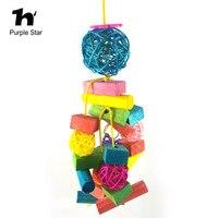 Purple Star Pet Parrot Colorful Wood Bite Toys Hanging Cage Pendant Decor Macaw Cockatiel Parrot Climb