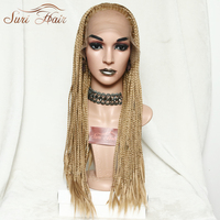 Suri Hair Lace Front Golden Synthetic Wig African American Braided Wig For Women 26inch