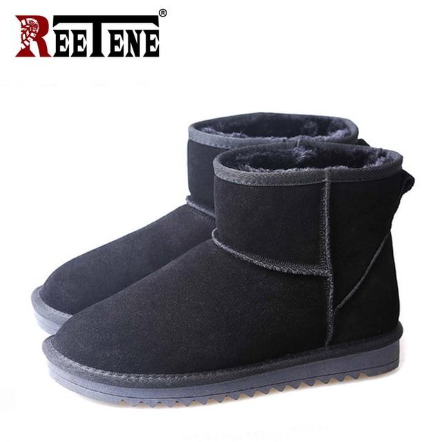 REETENE Warme Winter Männer Schnee Stiefel Casual Slip Auf Männer Schuhe Hard-Tragen Nicht-Slip Schnee Stiefel Pelz männer Schuhe Große Größe 46 47