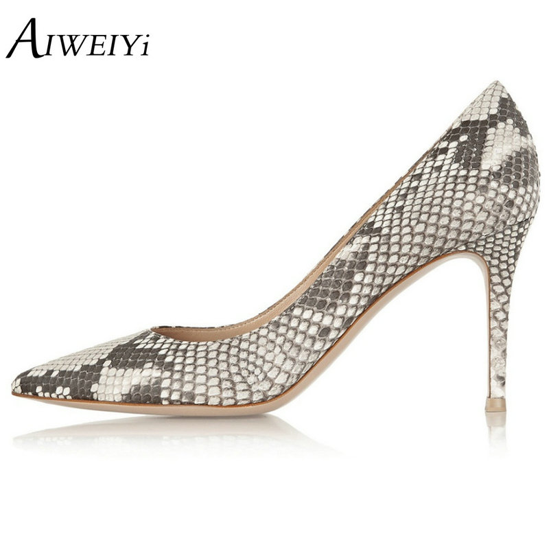AIWEIYi Women's Thin High Heel Stilettos Pointed Toe Patent Leather Shoes Snake Print Ladies Wedding Pumps Brand Shoes aiweiyi 2018 women pumps snake print pu leather square high heel shoes woman round toe slip on black ladies wedding shoes pumps