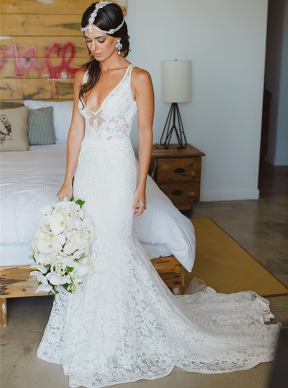 Sexy Deep V neck Mermaid Lace Summer Wedding Dress Bohemian ...