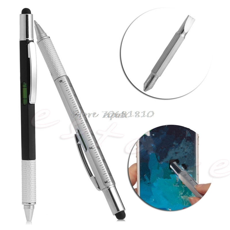 6 In 1 Touch Stylus Ballpoint Pen With Spirit Level Ruler Screwdriver Tool New Z17 Drop Ship