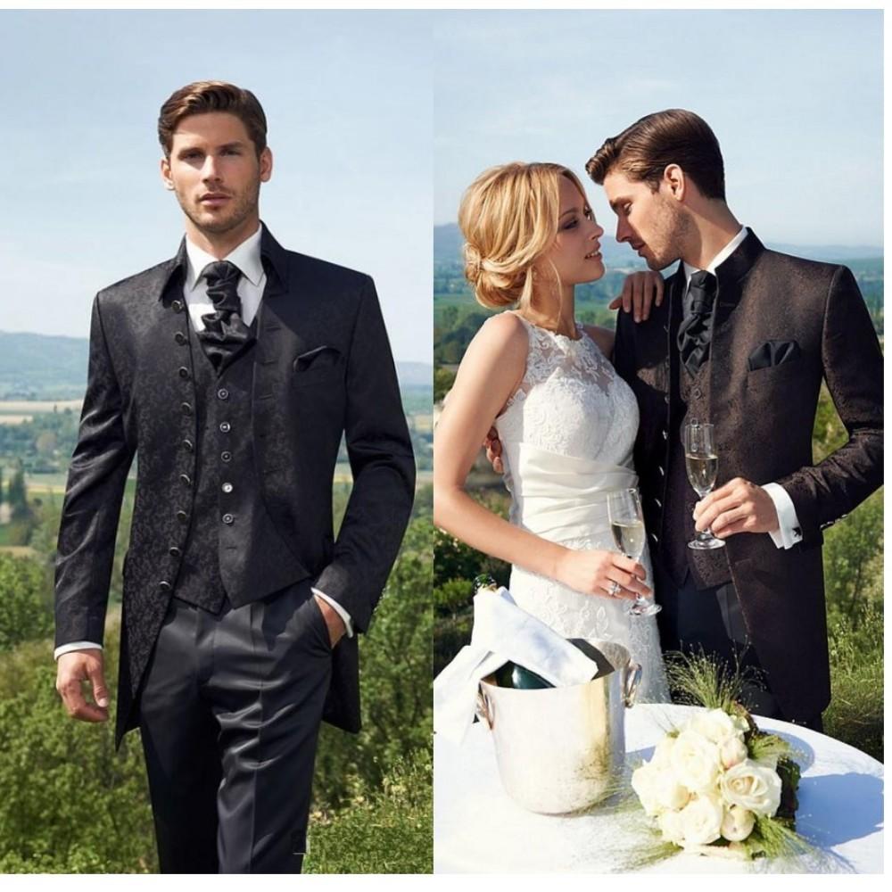 New Design Men\'s Dress 2015 Groom Tuxedos Two Buttons Slim Fit Business Dinner Suit Groomsman Bridegroom Suits (Jacket+Pants+Tie+Vest) H008_conew3