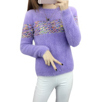 New Korean O Neck Easy Winter Set Head Hippocampal Hair Sweater Women Girl Student Thickening Violet