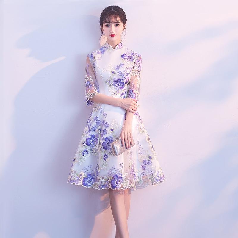 Fashion Wedding Party Cheongsam Oriental Evening Dress Chinese Style Women Elegant Qipao Sexy Mini Robe Retro
