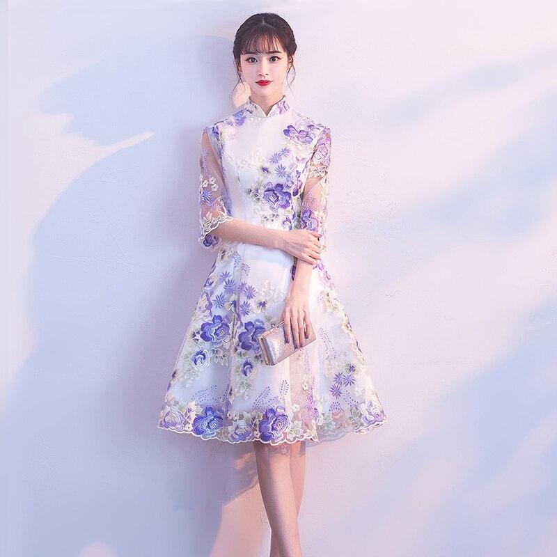 Cerimonia Nuziale di modo Del Partito Cheongsam Oriental Vestito Da Sera Delle Donne di Stile Cinese Elegante Qipao Sexy Mini Abito Retrò Vestido S-3XL