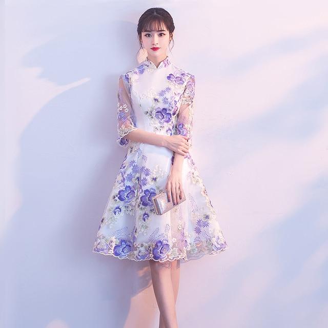 171cb6b4f Fashion Wedding Party Cheongsam Oriental Evening Dress Chinese Style Women  Elegant Qipao Sexy Mini Robe Retro Vestido S-3XL