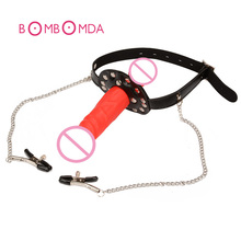 Fantasy Nipple Clamps Breast Clamps Sexy Bra Bondage Toys Double Big Dildo Mouth Gag Fetish Erotic Toy