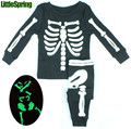 WOW! Glow In The Night Children Skeleton Print Toddler Clothes Set Baby Pajamas Suit Kids Sleepwear Clothing Sets Halloween Gift
