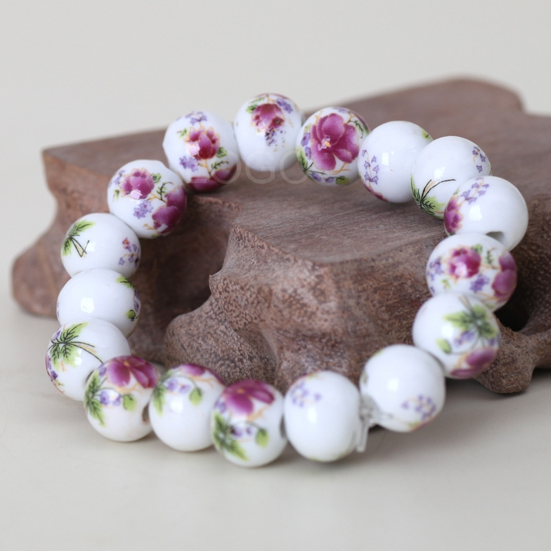 Chinese Style Ceramic Balls Bracelet Blue AND White Porcelain Wrist Jewelry H3