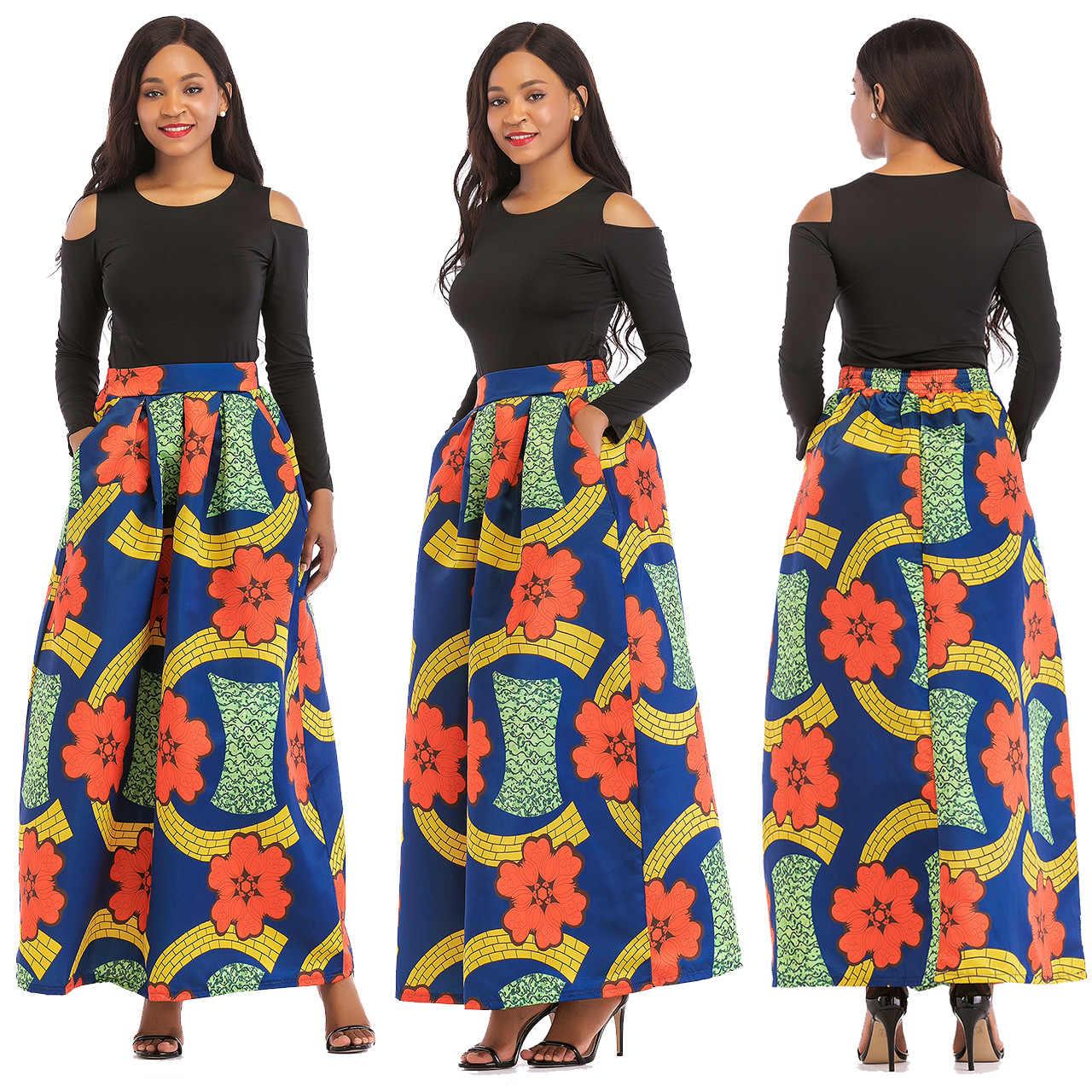 Afrika Kleidung African Anzug Für Frauen Sets Neue Afrikanische Druck Elastische Bazin Baggy Röcke Rock Stil Dashiki Hülse Anzug Für dame
